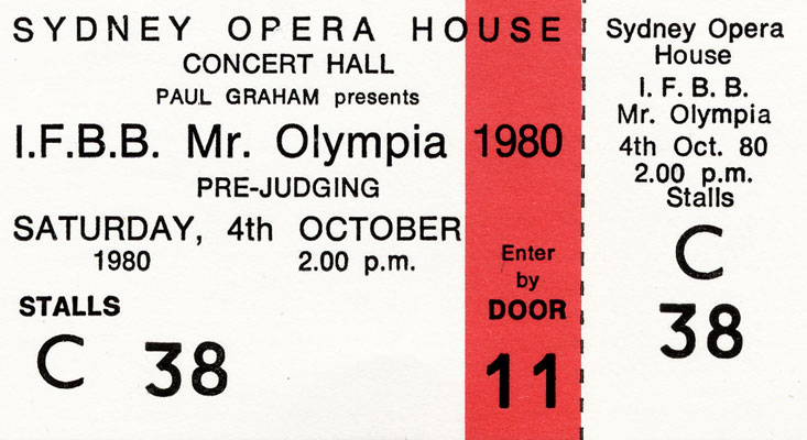 Ticket to the 1980 Mr. O