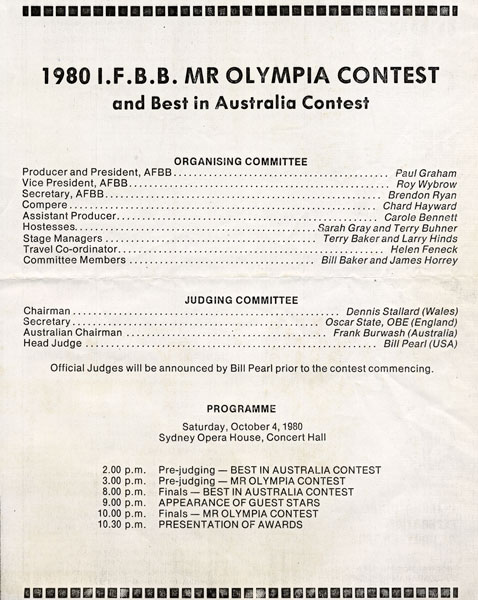 1980 Mr. Olympia Program